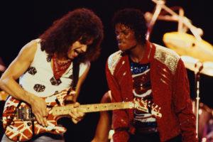 1983, Texas, USA --- Eddie Van Halen and Michael Jackson Performing --- Image by © Lynn Goldsmith/Corbis